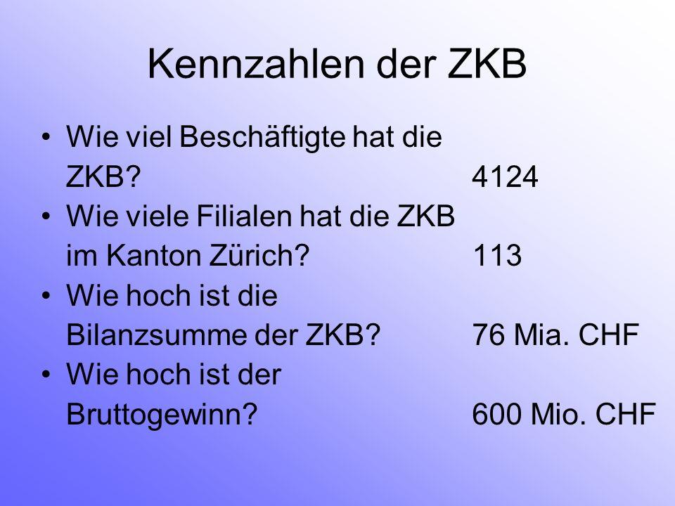 Kennzahlen der ZKB Wie viel Beschäftigte hat die ZKB? Wie viele Filialen hat die ZKB im Kanton Zürich? Wie hoch ist die Bilanzsumme der ZKB? Wie hoch