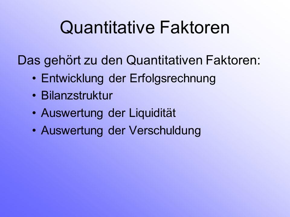 Quantitative Faktoren Das gehört zu den Quantitativen Faktoren: Entwicklung der Erfolgsrechnung Bilanzstruktur Auswertung der Liquidität Auswertung der Verschuldung