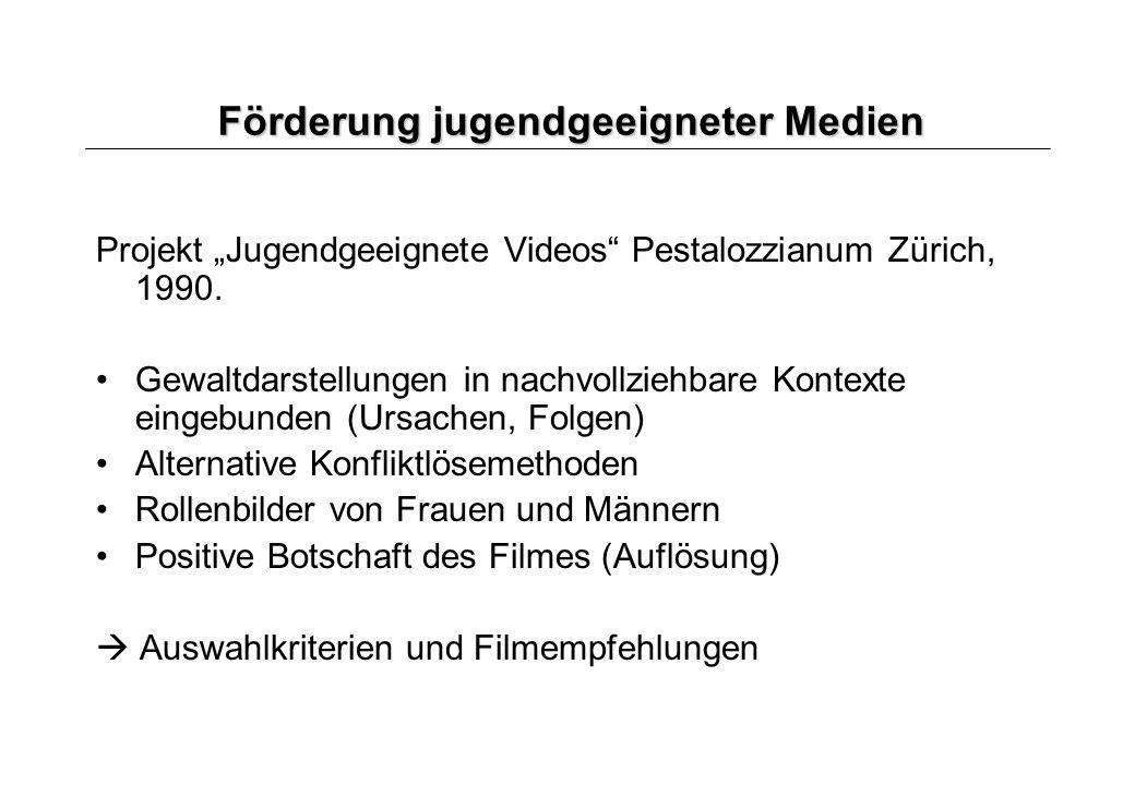 Förderung jugendgeeigneter Medien Projekt Jugendgeeignete Videos Pestalozzianum Zürich, 1990. Gewaltdarstellungen in nachvollziehbare Kontexte eingebu