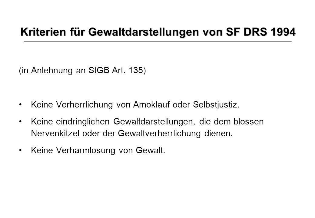 Kriterien für Gewaltdarstellungen von SF DRS 1994 (in Anlehnung an StGB Art. 135) Keine Verherrlichung von Amoklauf oder Selbstjustiz. Keine eindringl