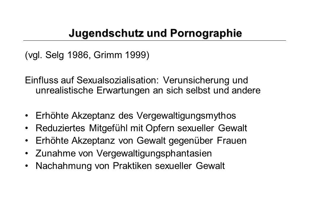 Jugendschutz und Pornographie (vgl. Selg 1986, Grimm 1999) Einfluss auf Sexualsozialisation: Verunsicherung und unrealistische Erwartungen an sich sel