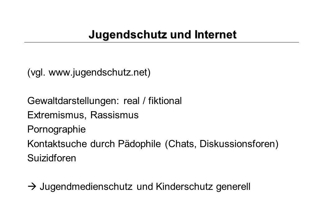 Jugendschutz und Internet (vgl. www.jugendschutz.net) Gewaltdarstellungen: real / fiktional Extremismus, Rassismus Pornographie Kontaktsuche durch Päd