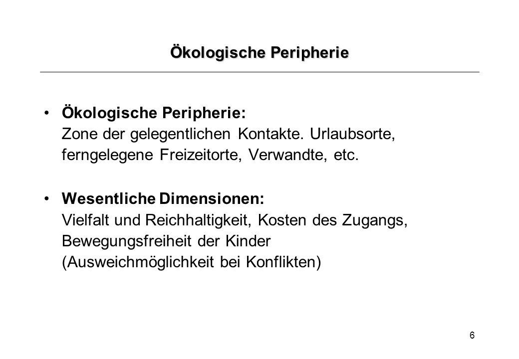 7 Sozialökologie nach Bronfenbrenner (1981) Mikrosystem: Muster von Tätigkeiten, Rollen und Beziehungen mit physischen und materiellen Merkmalen.