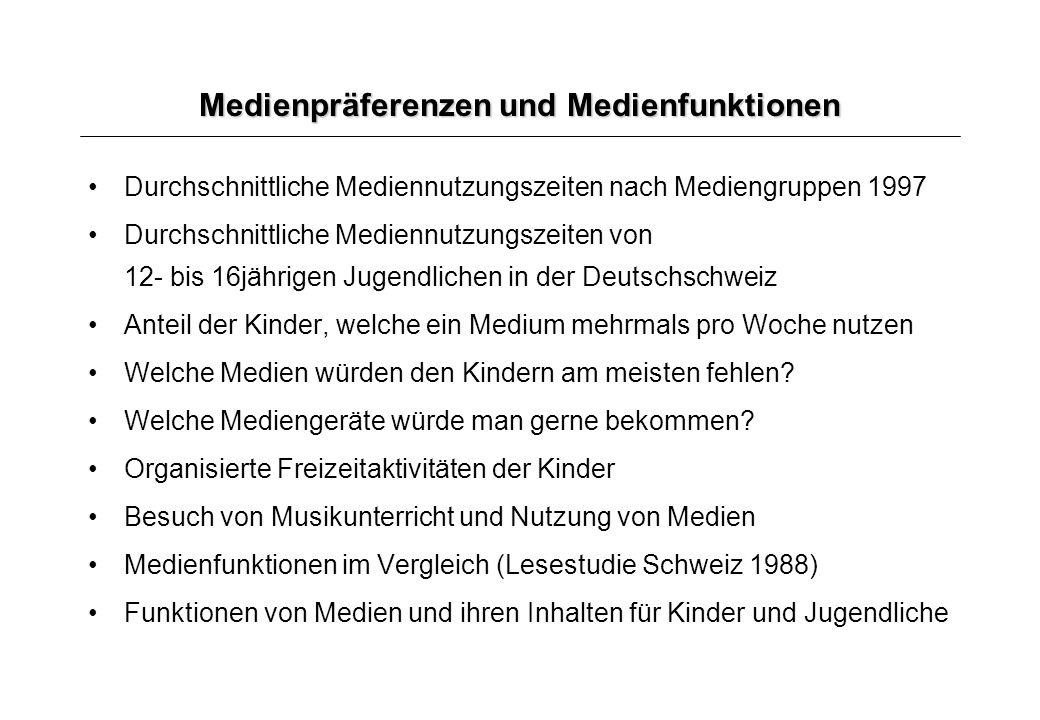 Medienpräferenzen und Medienfunktionen Durchschnittliche Mediennutzungszeiten nach Mediengruppen 1997 Durchschnittliche Mediennutzungszeiten von 12- b