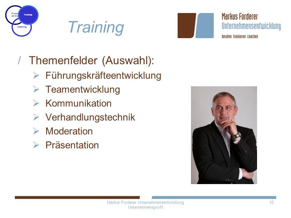 Markus Forderer Unternehmensentwicklung Unternehmensprofil 10 Training Themenfelder (Auswahl): Führungskräfteentwicklung Teamentwicklung Kommunikation