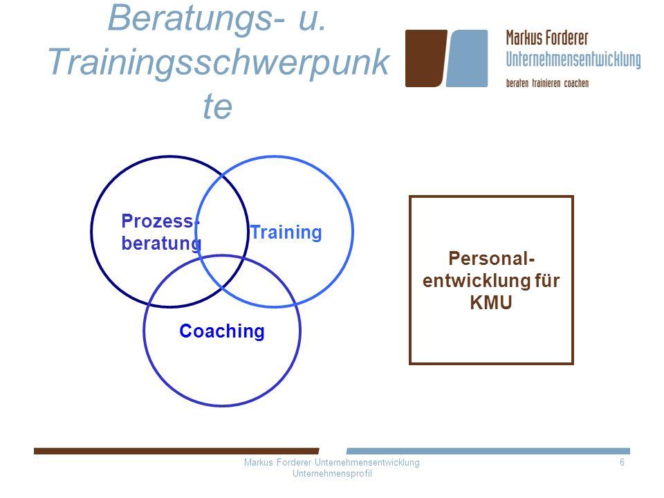 6 Beratungs- u. Trainingsschwerpunk te Prozess- beratung Coaching Training Personal- entwicklung für KMU