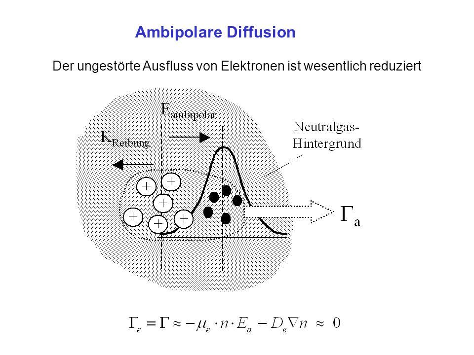 Ambipolare Diffusion Der ungestörte Ausfluss von Elektronen ist wesentlich reduziert