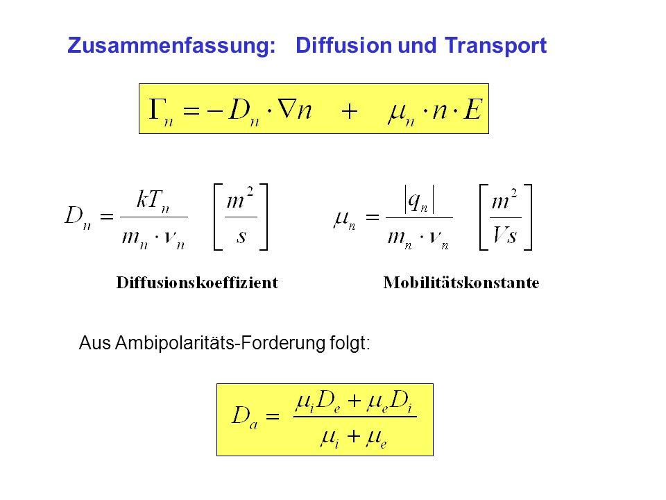Zusammenfassung:Diffusion und Transport Aus Ambipolaritäts-Forderung folgt: