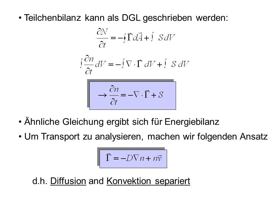 Diffusion Diffusionskoeffizienten aus random walk ansatz: Schrittlänge, Schrittdauer : Mittlere Zeit, um einen Punkt an zu erreichen: Für gegebene t, x: steigt Einschlusszeit (radius) 2 grün: rot: Binomialverteilung