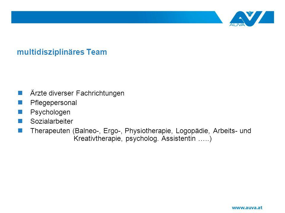 multidisziplinäres Team Ärzte diverser Fachrichtungen Pflegepersonal Psychologen Sozialarbeiter Therapeuten (Balneo-, Ergo-, Physiotherapie, Logopädie, Arbeits- und Kreativtherapie, psycholog.