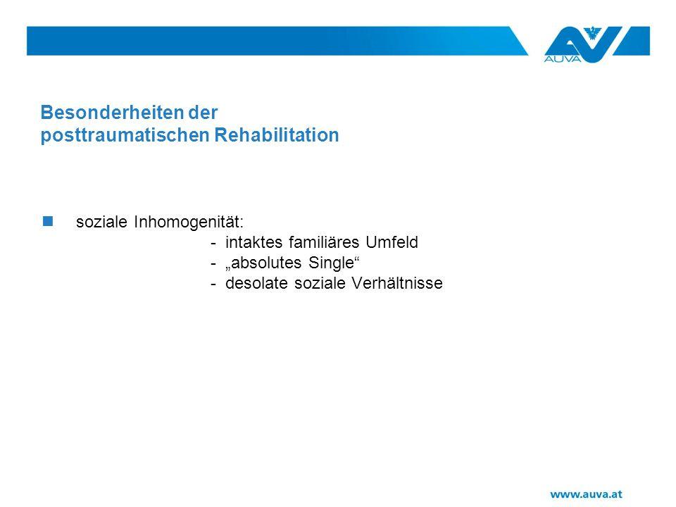 Besonderheiten der posttraumatischen Rehabilitation soziale Inhomogenität: - intaktes familiäres Umfeld - absolutes Single - desolate soziale Verhältnisse
