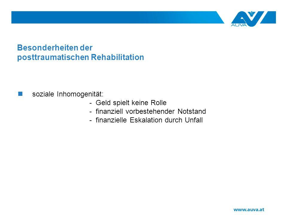 Besonderheiten der posttraumatischen Rehabilitation soziale Inhomogenität: - Geld spielt keine Rolle - finanziell vorbestehender Notstand - finanzielle Eskalation durch Unfall