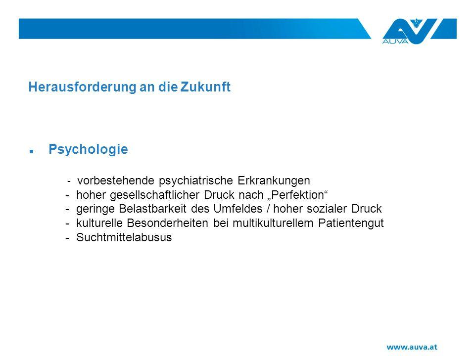Herausforderung an die Zukunft Psychologie - vorbestehende psychiatrische Erkrankungen - hoher gesellschaftlicher Druck nach Perfektion - geringe Belastbarkeit des Umfeldes / hoher sozialer Druck - kulturelle Besonderheiten bei multikulturellem Patientengut - Suchtmittelabusus
