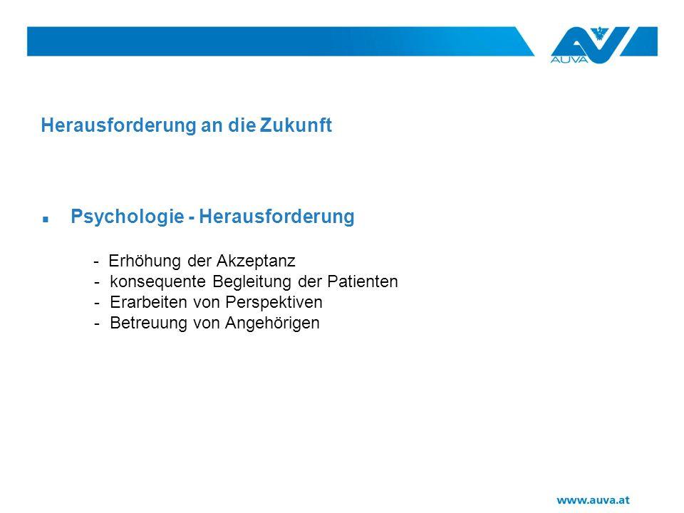 Herausforderung an die Zukunft Psychologie - Herausforderung - Erhöhung der Akzeptanz - konsequente Begleitung der Patienten - Erarbeiten von Perspektiven - Betreuung von Angehörigen