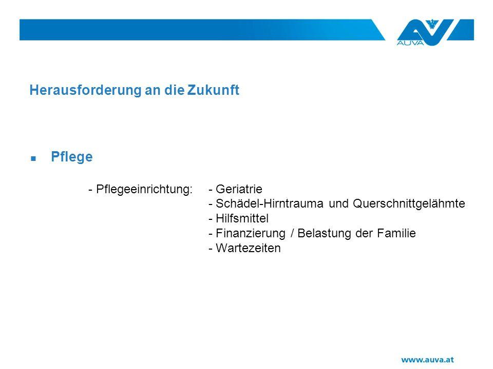 Herausforderung an die Zukunft Pflege - Pflegeeinrichtung: - Geriatrie - Schädel-Hirntrauma und Querschnittgelähmte - Hilfsmittel - Finanzierung / Belastung der Familie - Wartezeiten