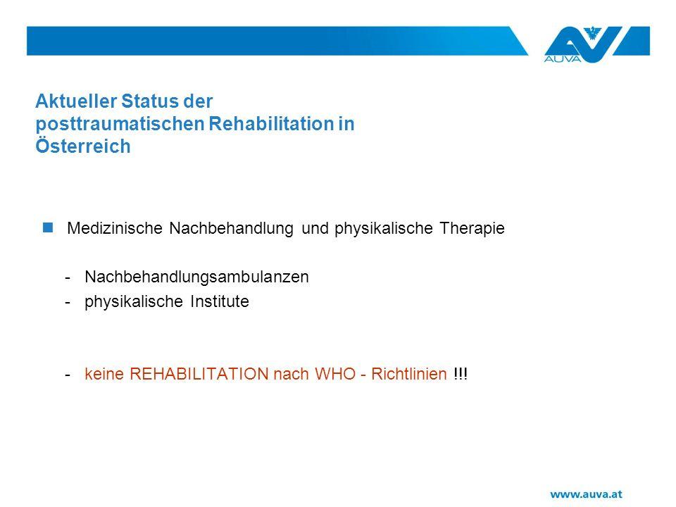Besonderheiten der posttraumatischen Rehabilitation soziale Inhomogenität: - Versicherungsschutz div.