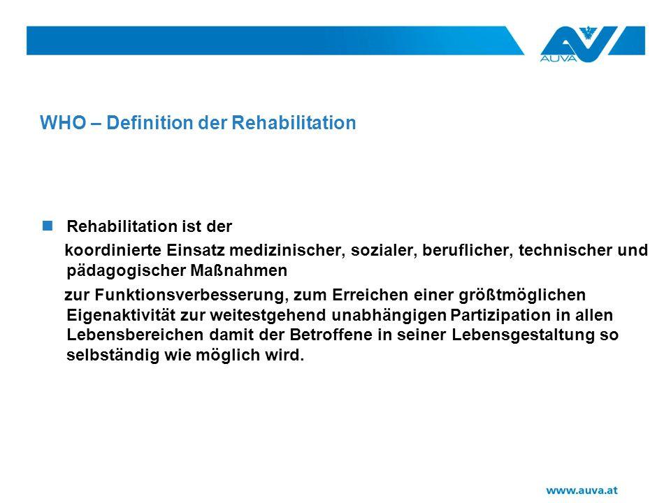 WHO – Definition der Rehabilitation Rehabilitation ist der koordinierte Einsatz medizinischer, sozialer, beruflicher, technischer und pädagogischer Maßnahmen zur Funktionsverbesserung, zum Erreichen einer größtmöglichen Eigenaktivität zur weitestgehend unabhängigen Partizipation in allen Lebensbereichen damit der Betroffene in seiner Lebensgestaltung so selbständig wie möglich wird.
