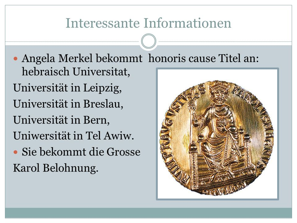 Interessante Informationen Angela Merkel bekommt honoris cause Titel an: hebraisch Universitat, Universität in Leipzig, Universität in Breslau, Univer