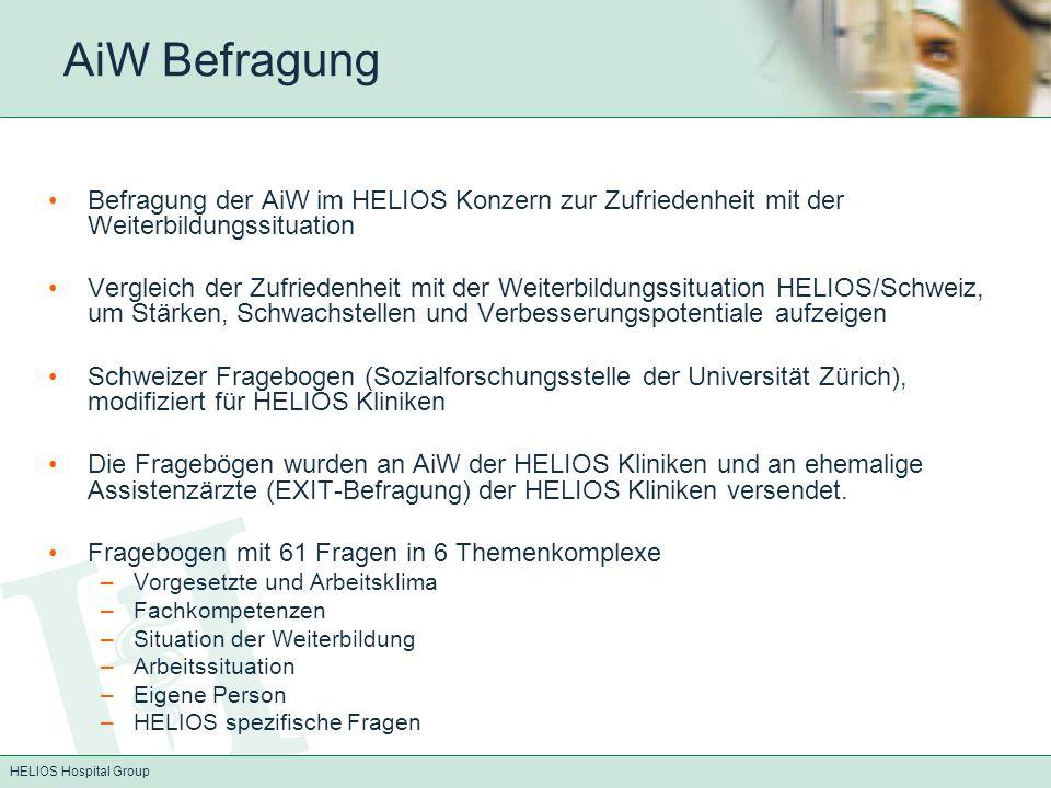 HELIOS Hospital Group AiW Befragung Befragung der AiW im HELIOS Konzern zur Zufriedenheit mit der Weiterbildungssituation Vergleich der Zufriedenheit