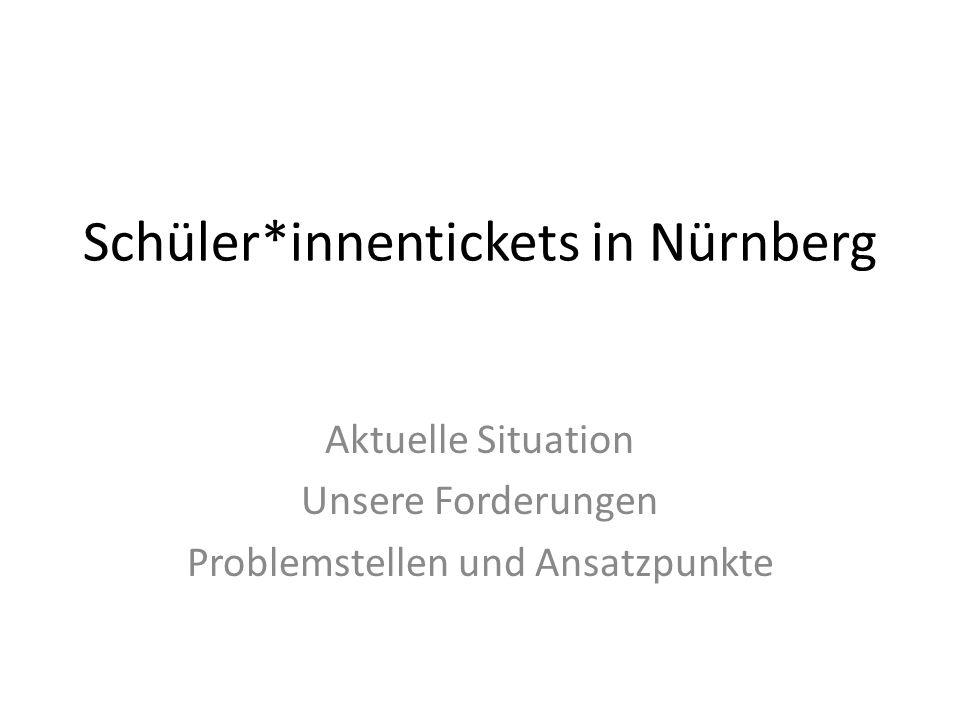 Schüler*innentickets in Nürnberg Aktuelle Situation Unsere Forderungen Problemstellen und Ansatzpunkte