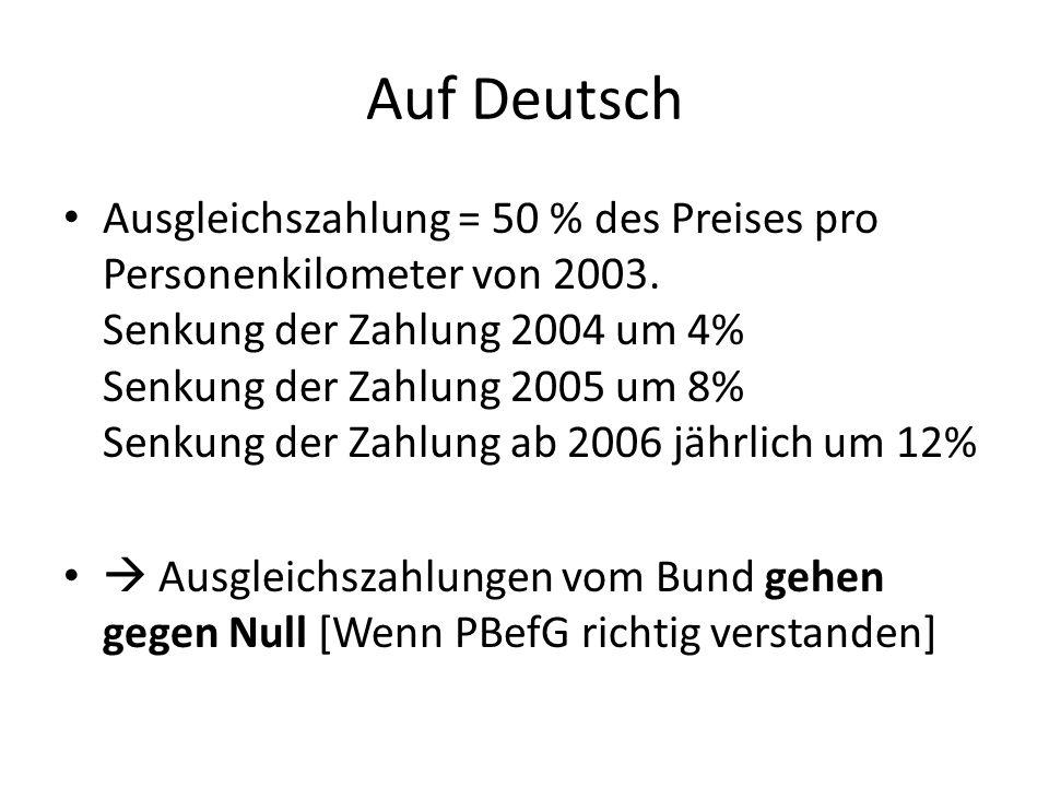 Auf Deutsch Ausgleichszahlung = 50 % des Preises pro Personenkilometer von 2003.