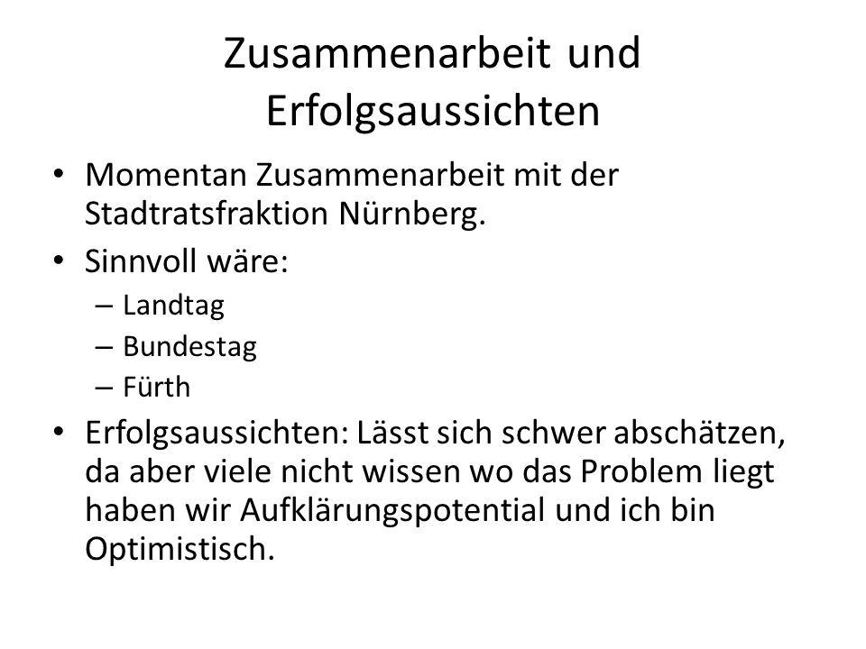 Zusammenarbeit und Erfolgsaussichten Momentan Zusammenarbeit mit der Stadtratsfraktion Nürnberg.