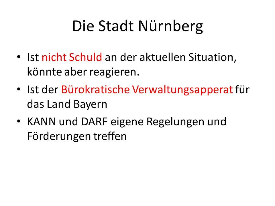 Die Stadt Nürnberg Ist nicht Schuld an der aktuellen Situation, könnte aber reagieren.