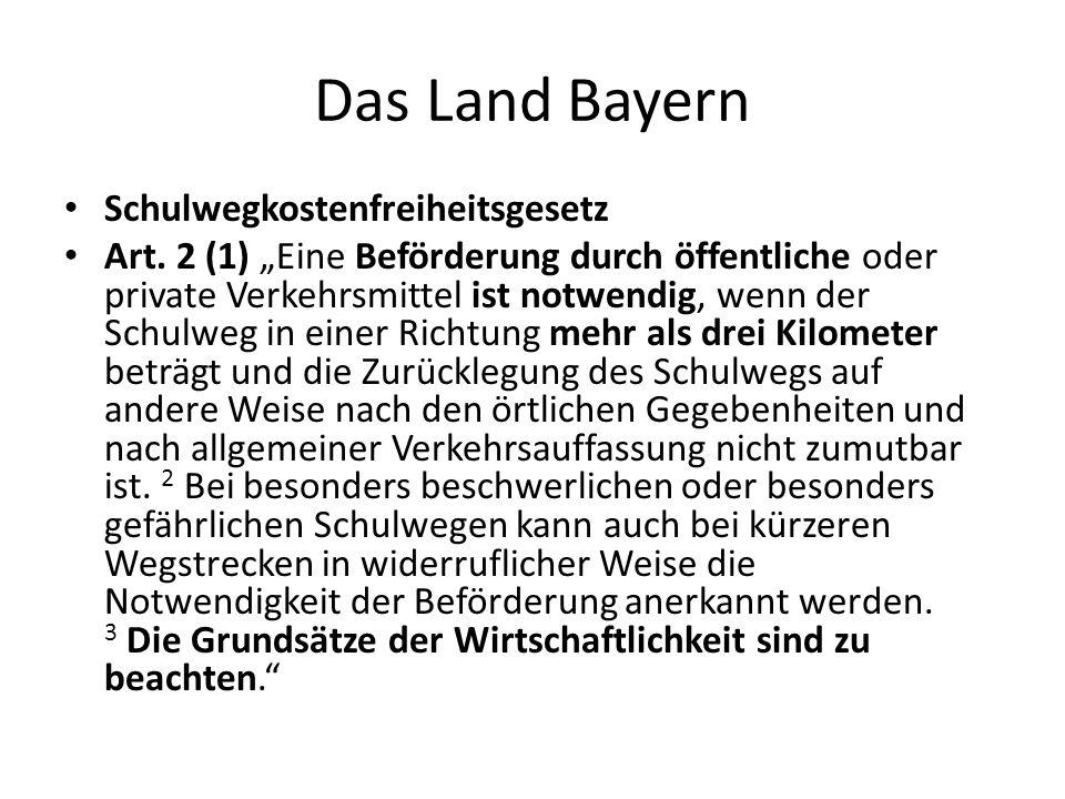 Das Land Bayern Schulwegkostenfreiheitsgesetz Art.