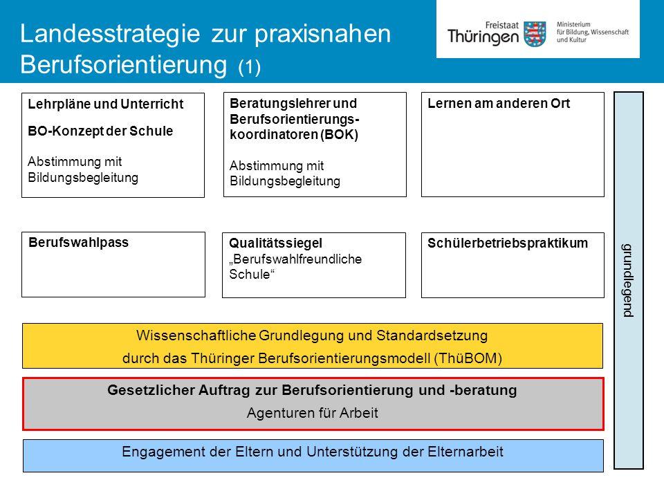 Landesstrategie zur praxisnahen Berufsorientierung (1) Lehrpläne und Unterricht BO-Konzept der Schule Abstimmung mit Bildungsbegleitung Beratungslehre