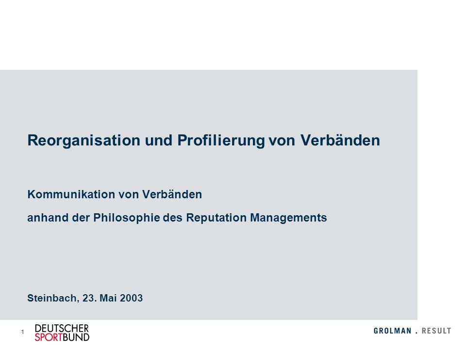 1 Reorganisation und Profilierung von Verbänden Kommunikation von Verbänden anhand der Philosophie des Reputation Managements Steinbach, 23. Mai 2003