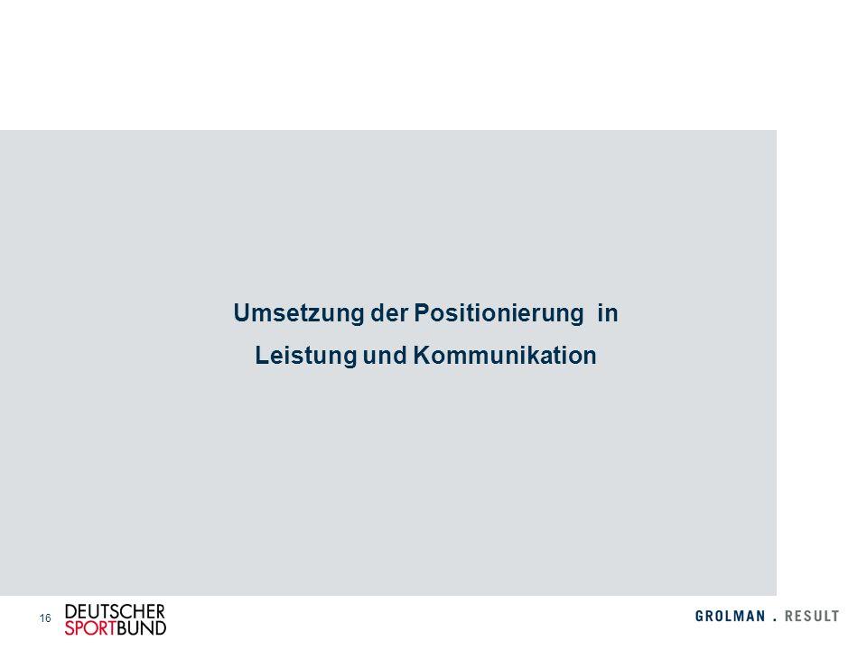 16 Umsetzung der Positionierung in Leistung und Kommunikation