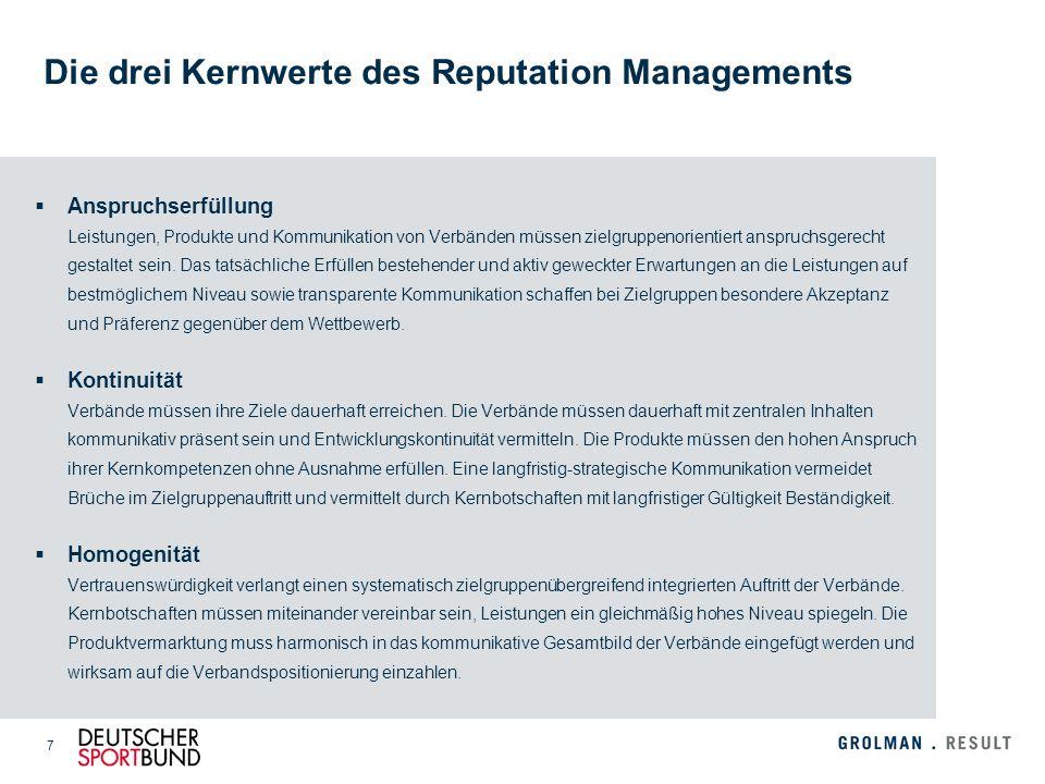 7 Die drei Kernwerte des Reputation Managements Anspruchserfüllung Leistungen, Produkte und Kommunikation von Verbänden müssen zielgruppenorientiert a