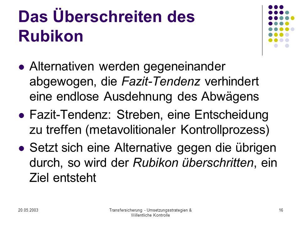 20.05.2003Transfersicherung - Umsetzungsstrategien & Willentliche Kontrolle 16 Das Überschreiten des Rubikon Alternativen werden gegeneinander abgewog