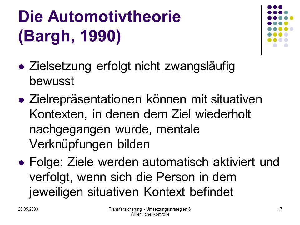20.05.2003Transfersicherung - Umsetzungsstrategien & Willentliche Kontrolle 17 Die Automotivtheorie (Bargh, 1990) Zielsetzung erfolgt nicht zwangsläuf