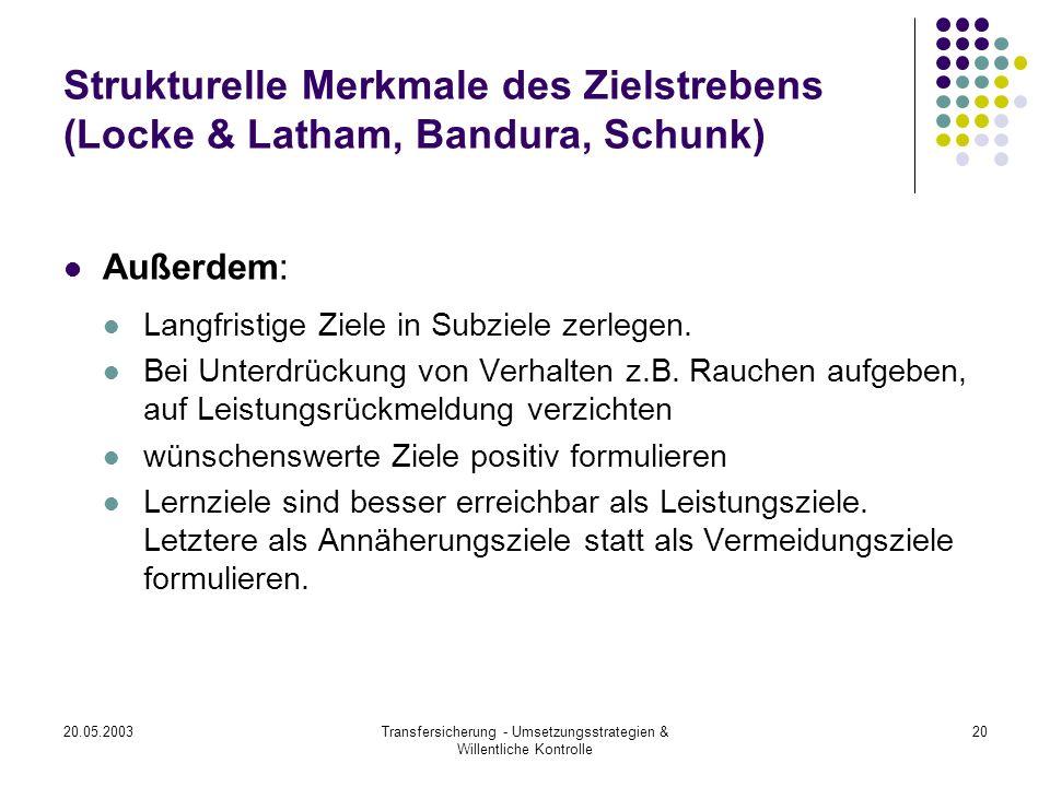 20.05.2003Transfersicherung - Umsetzungsstrategien & Willentliche Kontrolle 20 Strukturelle Merkmale des Zielstrebens (Locke & Latham, Bandura, Schunk