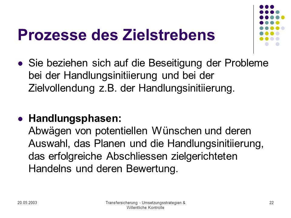 20.05.2003Transfersicherung - Umsetzungsstrategien & Willentliche Kontrolle 22 Prozesse des Zielstrebens Sie beziehen sich auf die Beseitigung der Pro