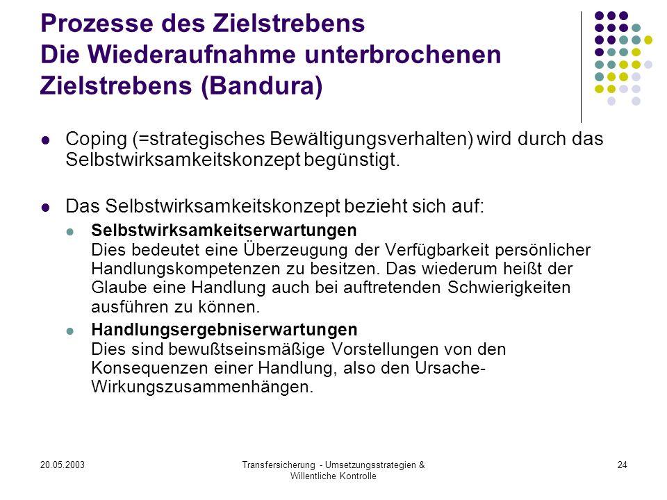 20.05.2003Transfersicherung - Umsetzungsstrategien & Willentliche Kontrolle 24 Prozesse des Zielstrebens Die Wiederaufnahme unterbrochenen Zielstreben