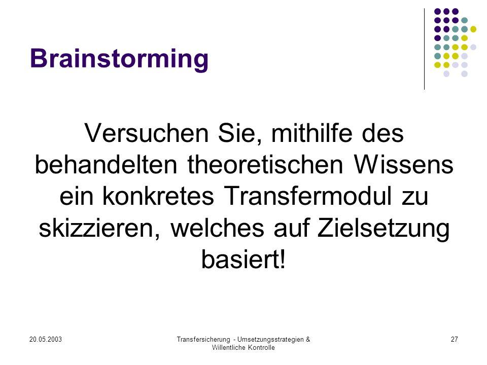20.05.2003Transfersicherung - Umsetzungsstrategien & Willentliche Kontrolle 27 Brainstorming Versuchen Sie, mithilfe des behandelten theoretischen Wis
