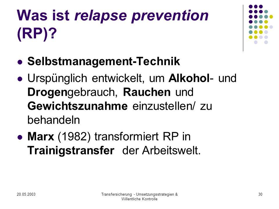 20.05.2003Transfersicherung - Umsetzungsstrategien & Willentliche Kontrolle 30 Was ist relapse prevention (RP)? Selbstmanagement-Technik Urspünglich e