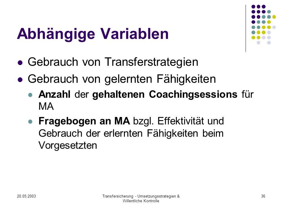 20.05.2003Transfersicherung - Umsetzungsstrategien & Willentliche Kontrolle 36 Abhängige Variablen Gebrauch von Transferstrategien Gebrauch von gelern
