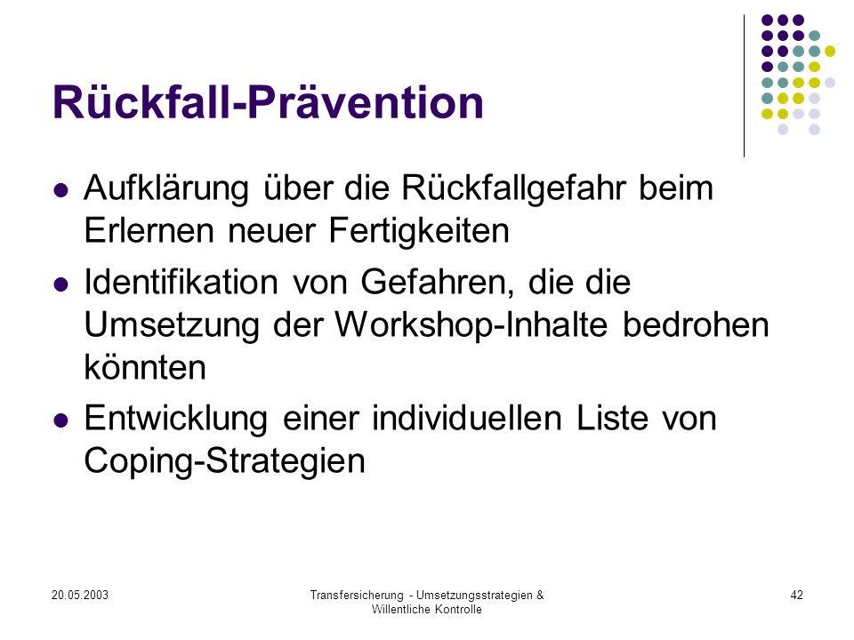 20.05.2003Transfersicherung - Umsetzungsstrategien & Willentliche Kontrolle 42 Rückfall-Prävention Aufklärung über die Rückfallgefahr beim Erlernen ne