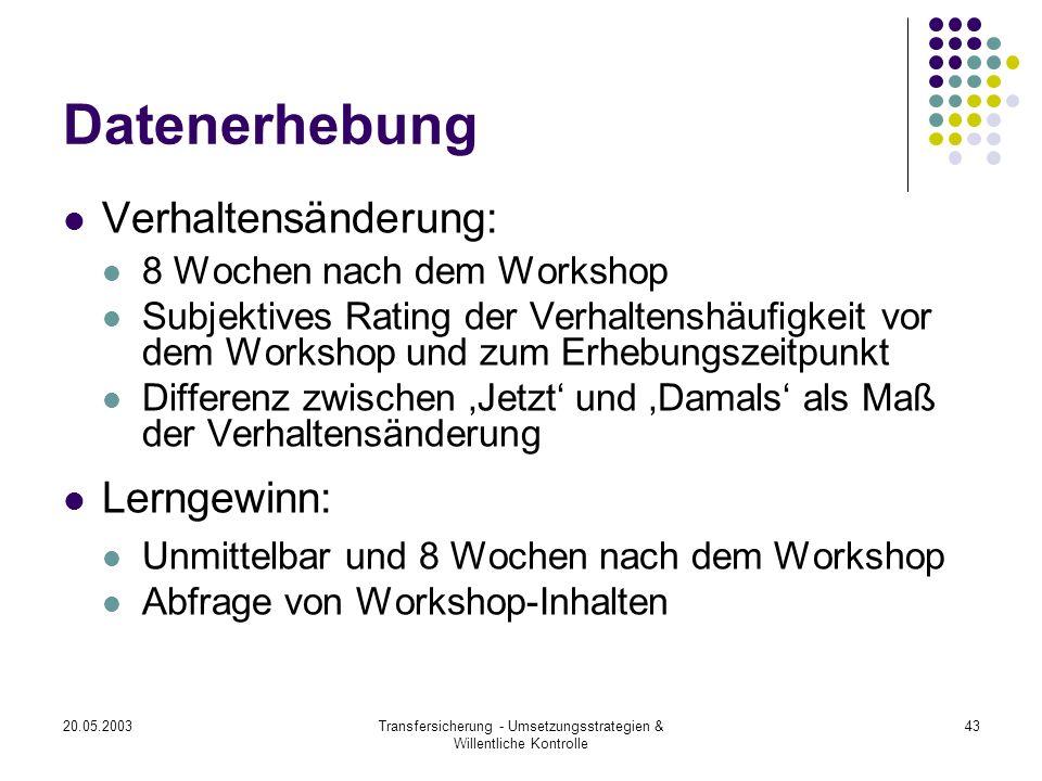 20.05.2003Transfersicherung - Umsetzungsstrategien & Willentliche Kontrolle 43 Datenerhebung Verhaltensänderung: 8 Wochen nach dem Workshop Subjektive