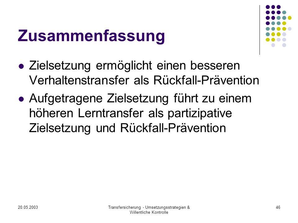 20.05.2003Transfersicherung - Umsetzungsstrategien & Willentliche Kontrolle 46 Zusammenfassung Zielsetzung ermöglicht einen besseren Verhaltenstransfe