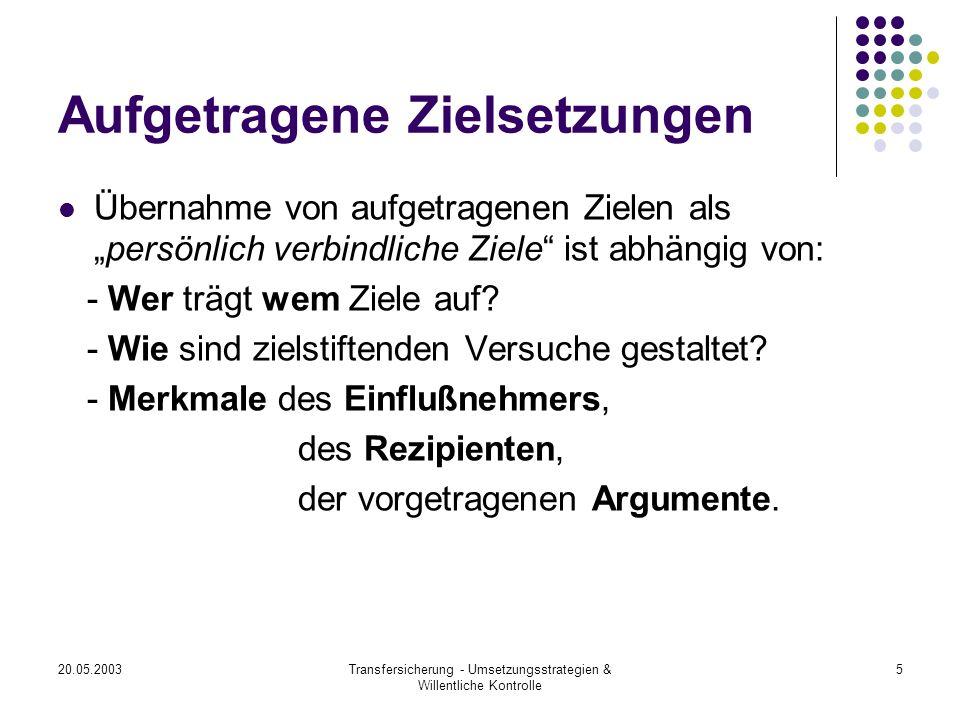 20.05.2003Transfersicherung - Umsetzungsstrategien & Willentliche Kontrolle 6 Merkmale des Einflußnehmers (a), des Rezipienten (b) und der Argumente (c) Zu (a): Legitimation und Vertrauenswürdigkeit der Person Zu (b): Sind Ziele wünschenswert.