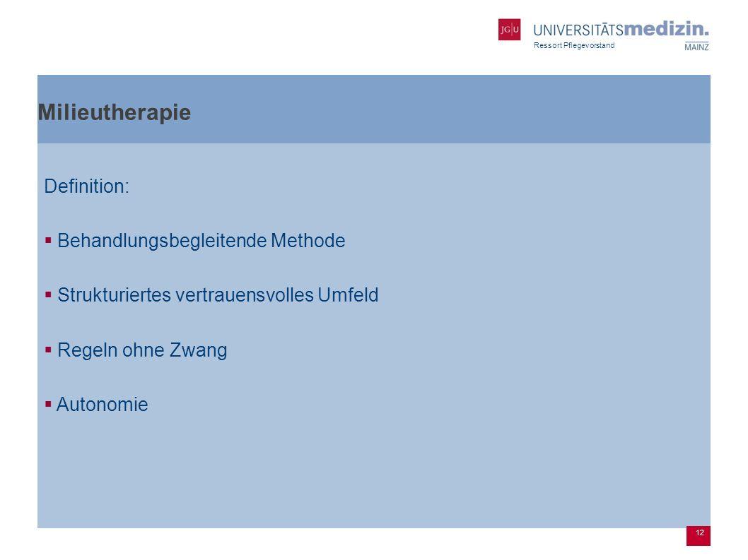 Ressort Pflegevorstand Milieutherapie Definition: Behandlungsbegleitende Methode Strukturiertes vertrauensvolles Umfeld Regeln ohne Zwang Autonomie 12