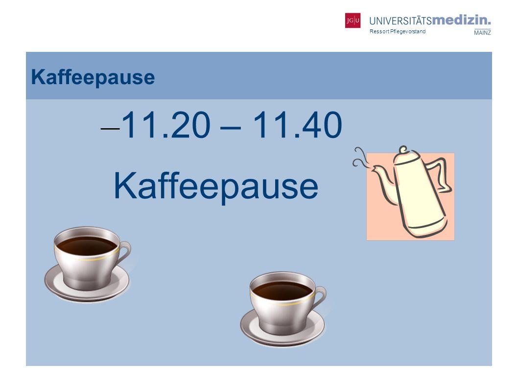 Ressort Pflegevorstand Kaffeepause – 11.20 – 11.40 Kaffeepause