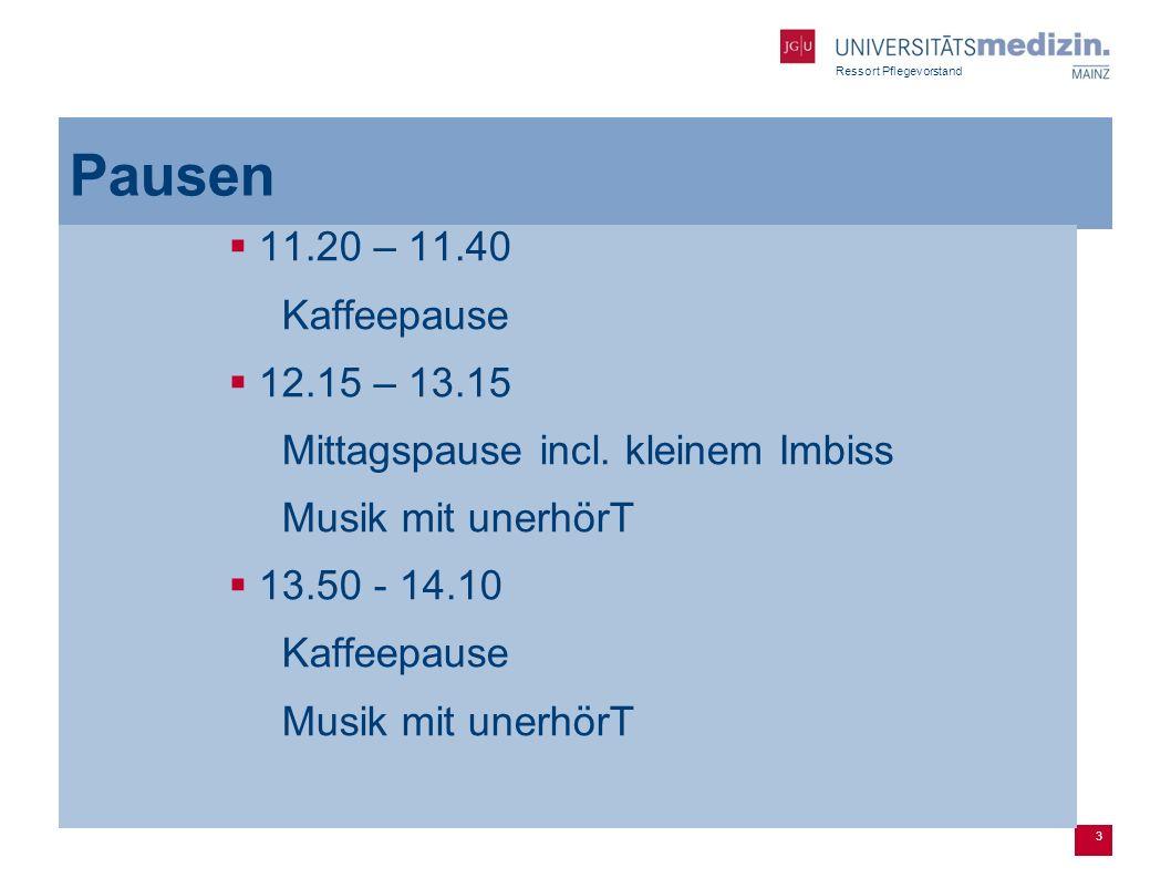 3 Pausen 11.20 – 11.40 Kaffeepause 12.15 – 13.15 Mittagspause incl.