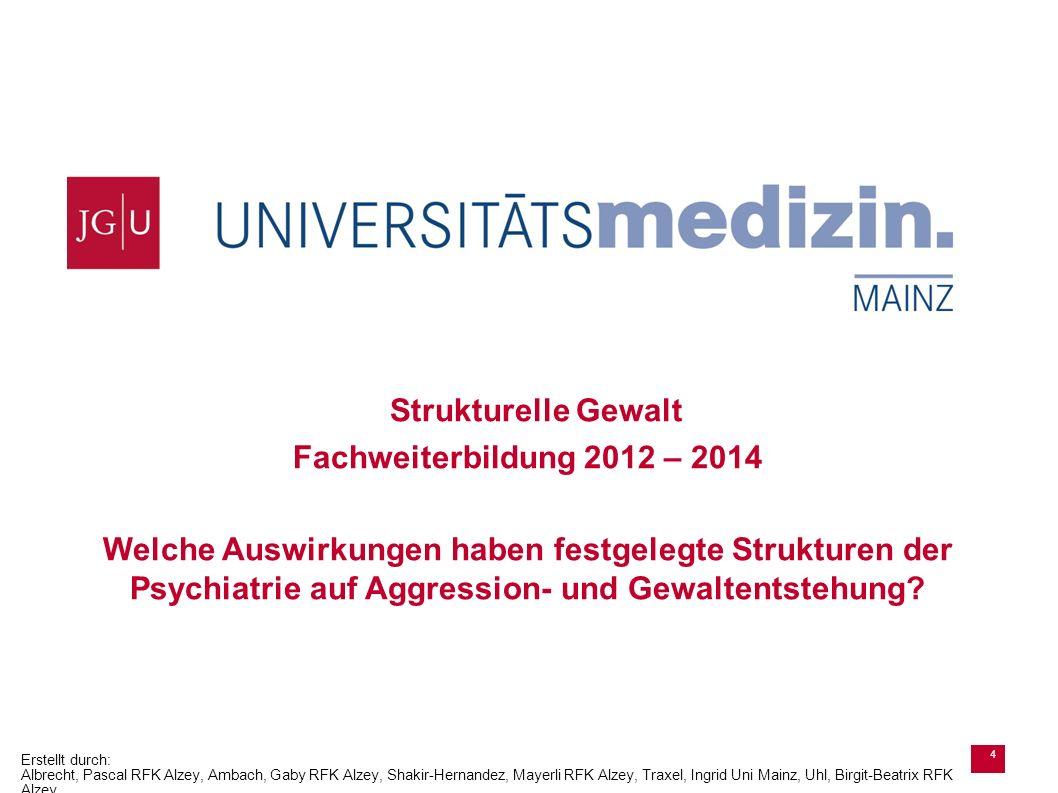 Ressort Pflegevorstand Strukturelle Gewalt Fachweiterbildung 2012 – 2014 Welche Auswirkungen haben festgelegte Strukturen der Psychiatrie auf Aggressi