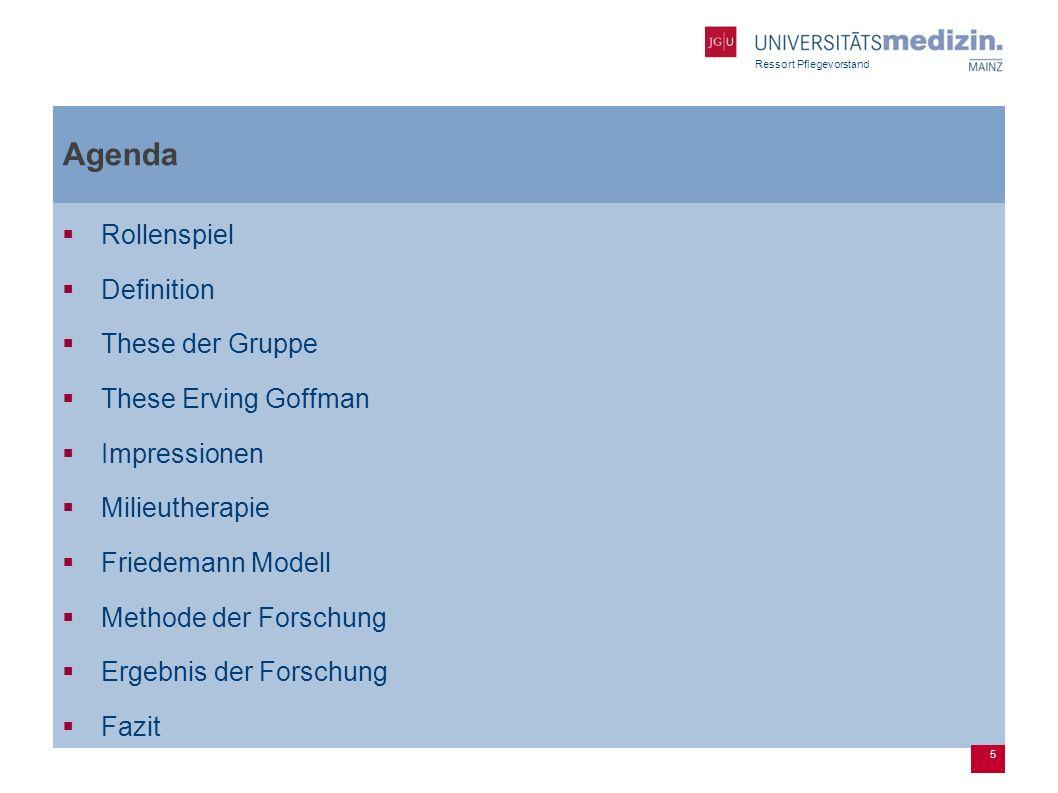 Ressort Pflegevorstand Agenda Rollenspiel Definition These der Gruppe These Erving Goffman Impressionen Milieutherapie Friedemann Modell Methode der Forschung Ergebnis der Forschung Fazit 5
