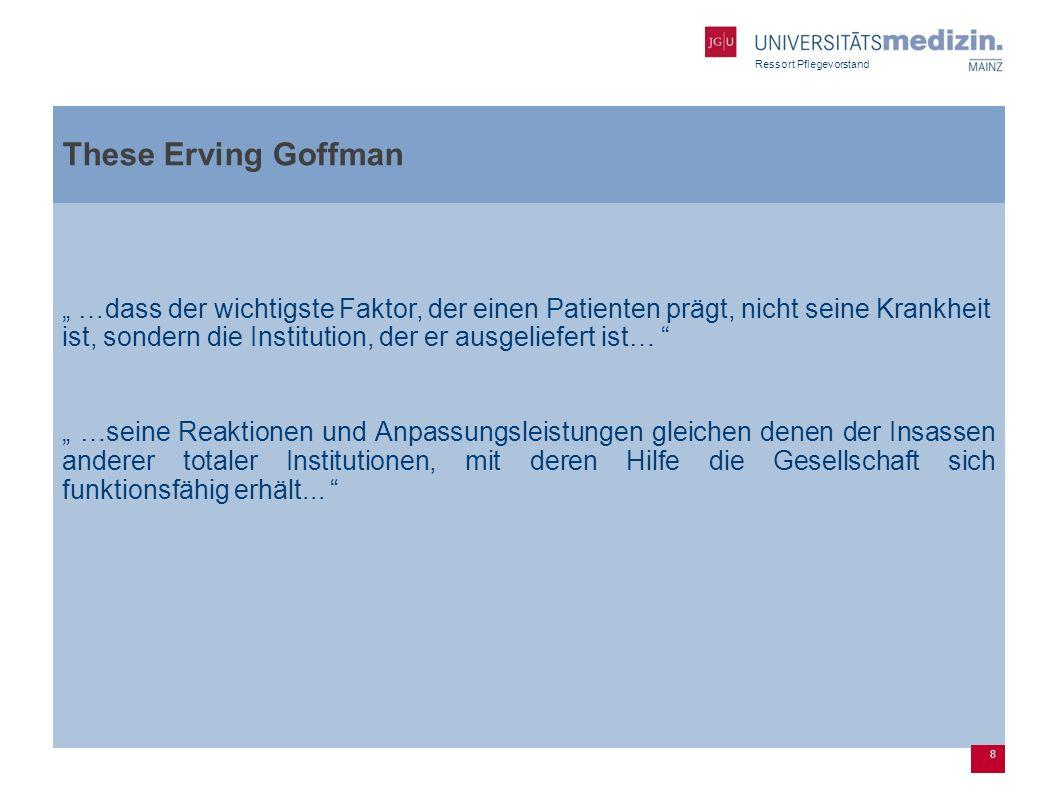 Ressort Pflegevorstand These Erving Goffman …dass der wichtigste Faktor, der einen Patienten prägt, nicht seine Krankheit ist, sondern die Institution